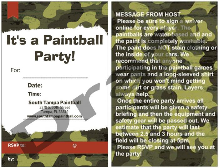 Paintball Party Invitation Camo
