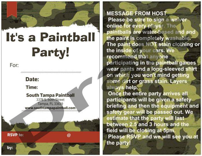 Paintball Party Invitation Camo