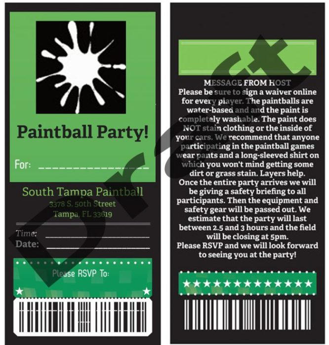 Paintball Party Invitations Green